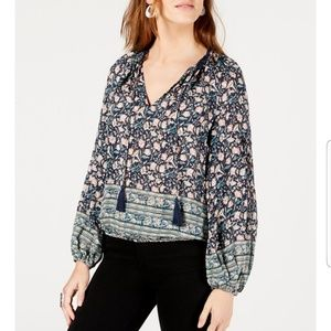 Lucky Brand Lace-Trim Printed Peasant Top